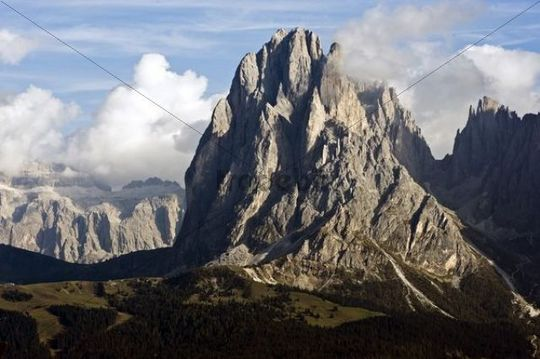 View over the Seiser Alm on Mt. Sassolungo, in the back the Gruppo Sella group, Dolomites, South Tyrol, Italy, Europe
