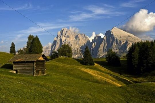 View over the Seiser Alm on Mt. Sassolungo and Mt. Plattkofel, Dolomites, South Tyrol, Italy, Europe