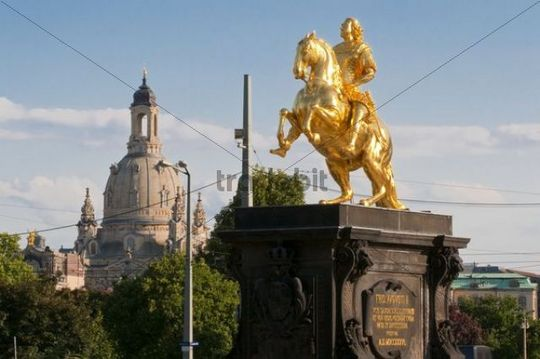 Golden Rider equestrian statue in front of Frauenkirche, Church of Our Lady, New Town, Dresden, Saxony, Germany, Europe