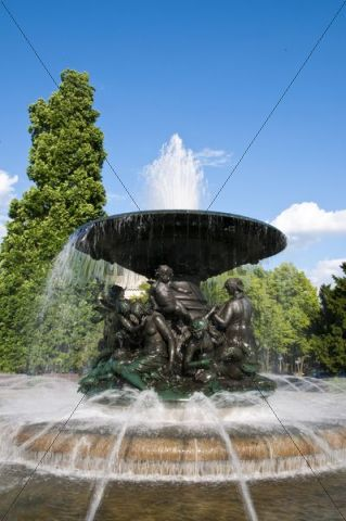 Fountain on Albert Square, New Town, Dresden, Saxony, Germany, Europe