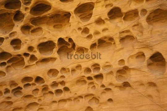 Optical illusion, eroded holes in the rock, Little Wild Horse Canyon, Slot Canyon, San Rafael Swell, Utah, USA
