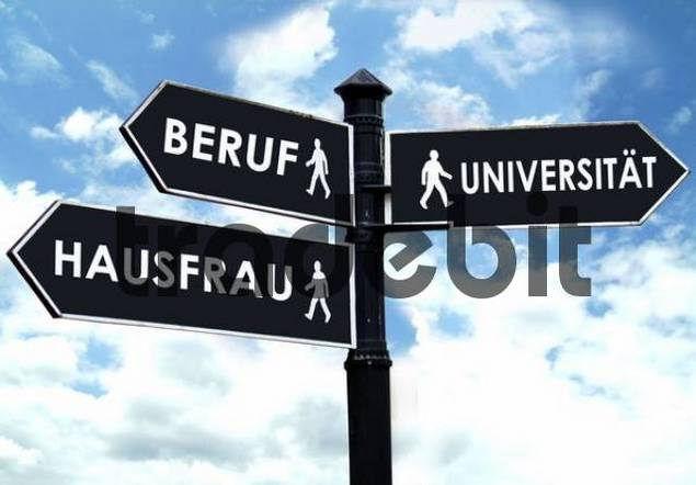 direction sign, symbolic for job, housewife or university