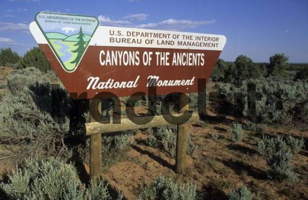 entrance sign to the Canyon of the Ancients National Monument