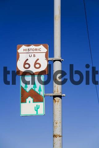 Route 66, street sign in Flagstaff, Arizona, USA