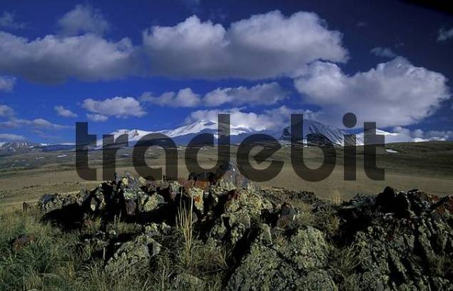 Plateau Ukok, the joint of Russia and China, view to the Chinese Five Sacred Peaks. S.Altai.