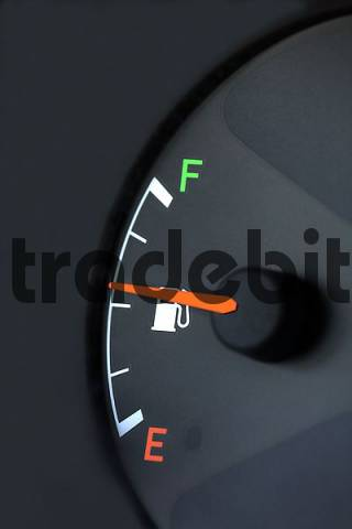 fuel gage of a car, symbol for gas prices and energy conservation, close up