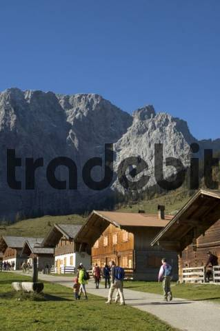Hiking and mountain hiking at the Engalmen in the Eng Valley Rissbachvalley Tyrol Austria under the Karwendel mountains