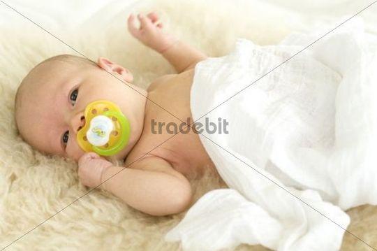 Baby, 1 month, lying on sheepskin
