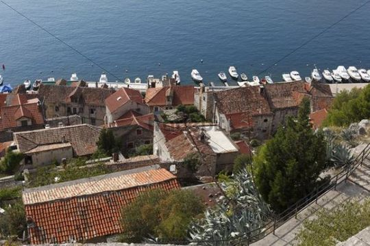 View from the fortress over the old town, Sibenik, Dalmatia, Adriatic Sea, Croatia, Europe