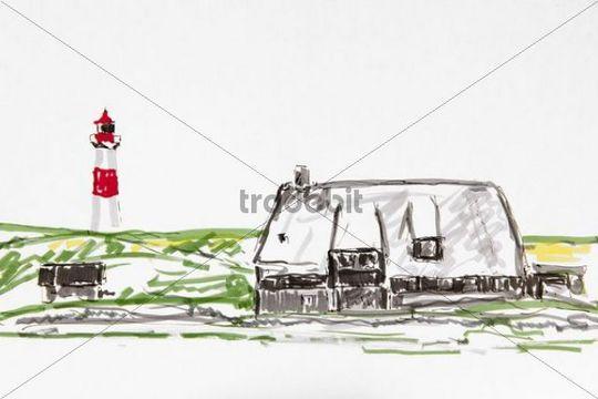 Lighthouse, east List, Sylt island, drawing, artist, Gerhard Kraus, Kriftel
