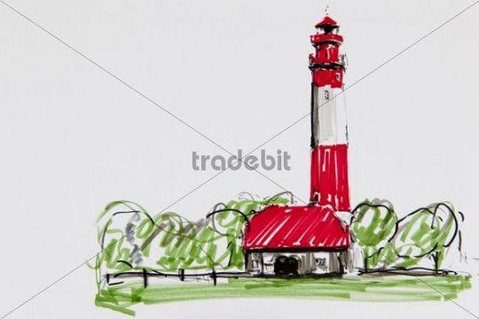Lighthouse Fluegge, Fehmarn island, drawing, artist, Gerhard Kraus, Kriftel