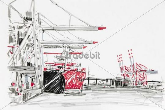 Container terminal in the Port of Hamburg, drawing, artist, Gerhard Kraus, Kriftel