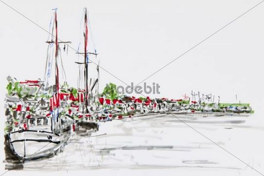 Port of Flensburg, drawing, artist, Gerhard Kraus, Kriftel