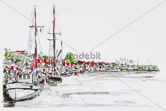 Port of Flensburg, drawing, artist, Gerhard Kraus, Kriftel