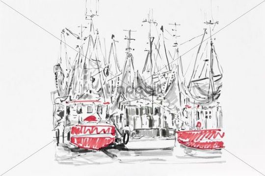 Shrimping boats in Greetsiel, drawing, artist, Gerhard Kraus, Kriftel