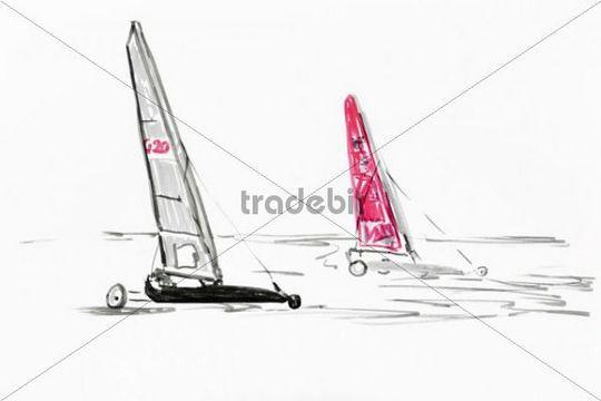 Sand yacht in St Peter Ording, drawing, artist, Gerhard Kraus, Kriftel