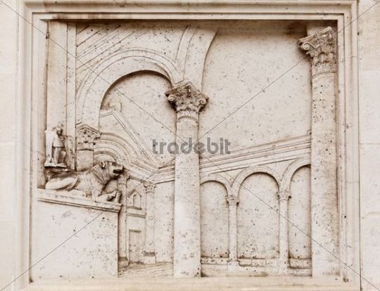 Relief on the outer wall of the city hall, Zadar, Dalmatia, Croatia, Europe