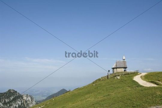 Chapel of the Steinling Alm mountain pasture, Kampenwand, Upper Bavaria, Bavaria, Germany, Europe