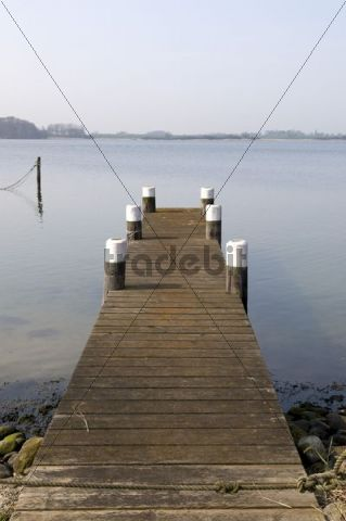 Jetty in the Maasholm fishing village, Schlei river, Schleswig-Holstein, Germany, Europe