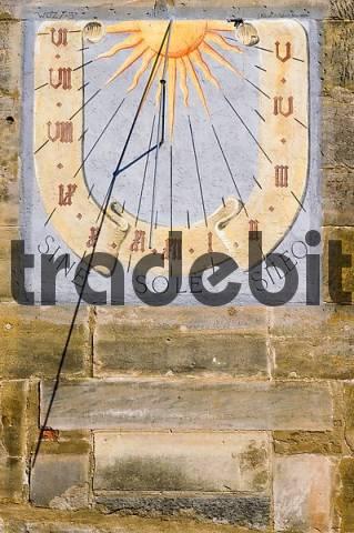 Ebern district of Hassberge Upper Frankonia Bavaria Germany sundial in the Rückertstreet