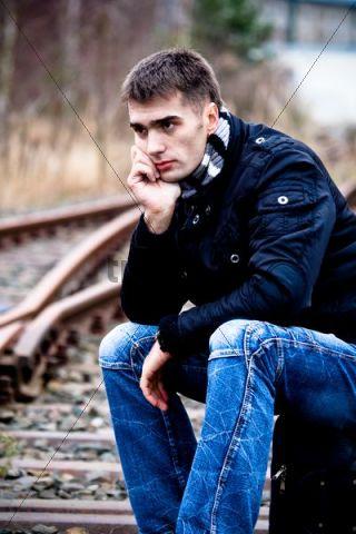 Man at rail track