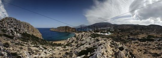 Panoramic views of Arkassa, Paleokastro and Agios Nikolaos, Karpathos, Aegean Islands, Aegean Sea, Greece, Europe