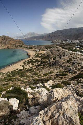 View on Arkassa, Paleokastro and Agios Nikolaos, Karpathos, Aegean Islands, Aegean Sea, Greece, Europe