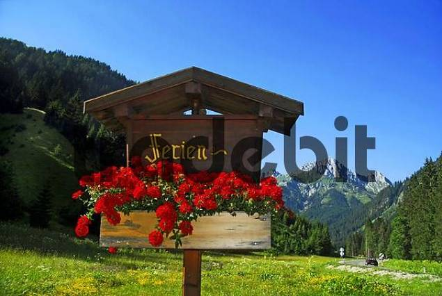 sign post with mountain view in Upper Bavaria, Bavaria, Germany, Europe