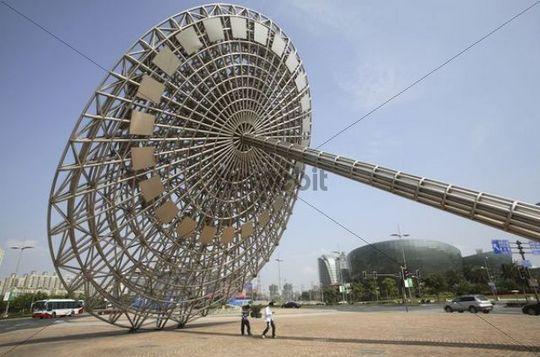 Modern sculpture, Pudong, Shanghai, China, Asia