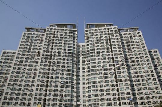 Low angle view of residential building, Shanghai, China, Asia