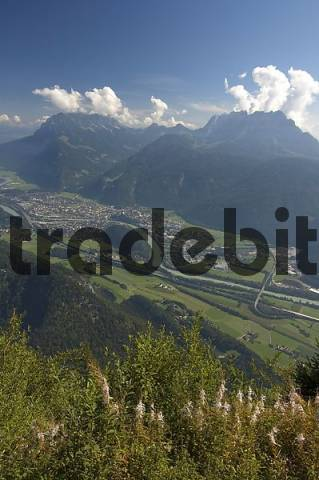 View from the Pendling Haus or Kufstein Haus between Kufstein and Thiersee to the Inn valley Tyrol Austria