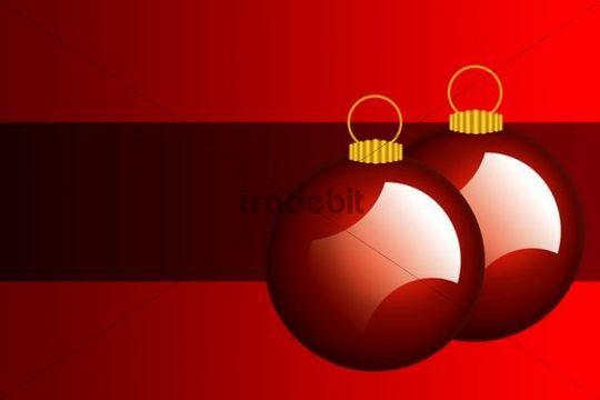 Christmas baubles, illustration, card