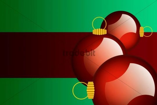 Christmas baubles, illustration, card