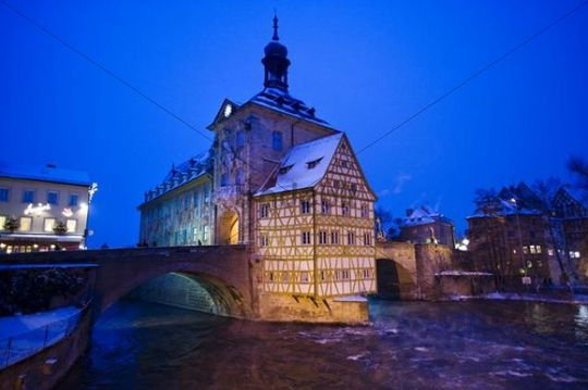 Old own Hall in Regnitz river in winter, Bamberg, Upper Franconia, Franconia, Bavaria, Germany, Europe