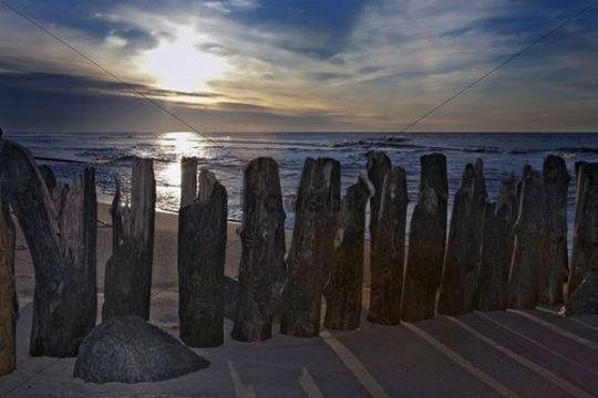 Groyne on the beach in Westerland, Sylt island, North Sea, Schleswig-Holstein, Germany, Europe