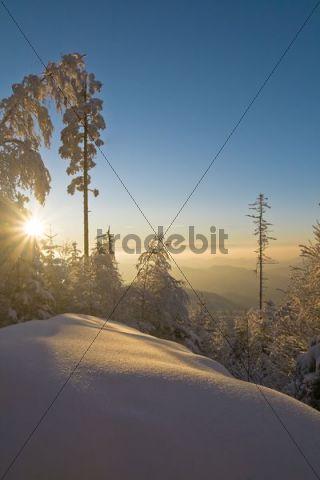 Sunset on Mt. Teufelsmuehle near Bad Herrenalb, Baden-Wuerttemberg, Germany, Europe