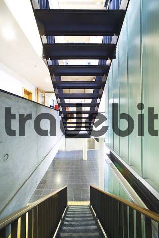 staircase in a modern building, construction material glass, metal and marble