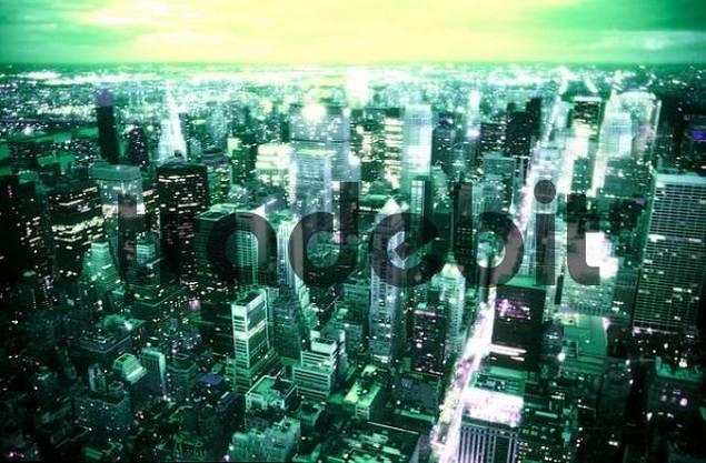 View of New York City at night, New York, USA