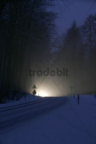 Headlight in a snowy winter in the forest, hard-packed snow, Switzerland