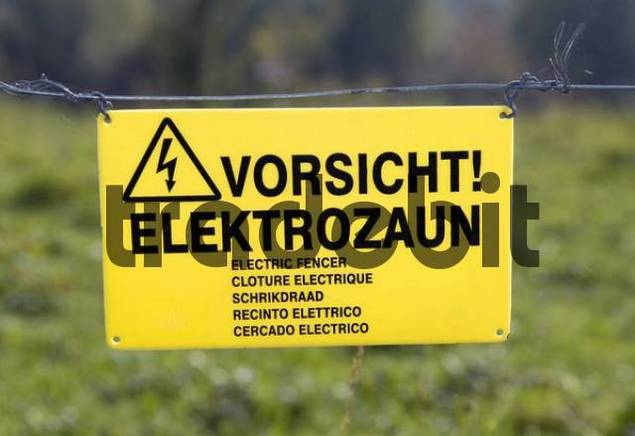sign - caution, electric fence