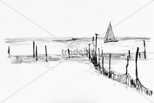 Fishing nets in the Flensburg Fjord, Denmark, drawing by artist Gerhard Kraus, Kriftel