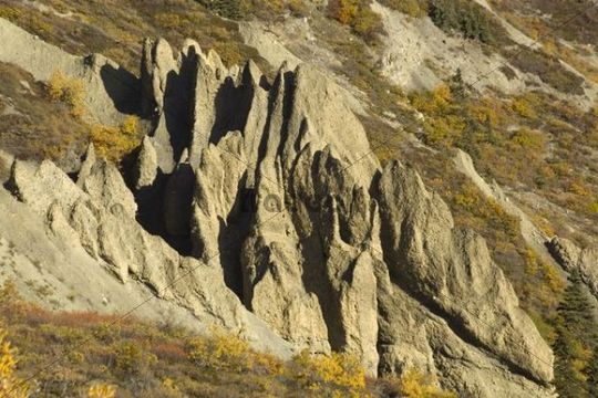 Hoodoos, erosion in soft sandstone, Sheep Mountain, St. Elias Mountains, Kluane National Park and Reserve, Yukon Territory, Canada