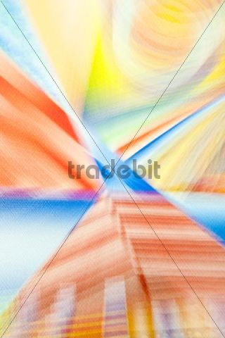 Acrylic painting on a pyramid house, blurred, artist Gerhard Kraus, Kriftel