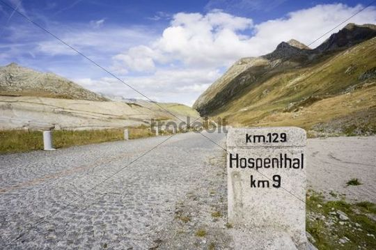 Paving stones of the old Gotthard road, Switzerland, Europe