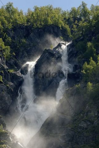 Twin waterfall, double waterfall Buer in Buardalen, on Buarbreen near Odda, province of Hordaland, Norway, Europe
