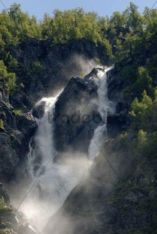 Twin waterfall, double waterfall Buer in Buardalen, on Buarbreen near Odda, province of Hordaland, Norway, Europe