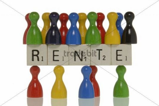"""Few game pieces carrying more game pieces, on scrabble pieces with the lettering """"Rente"""", German for """"pension"""", symbolic for demographic in the pension system"""