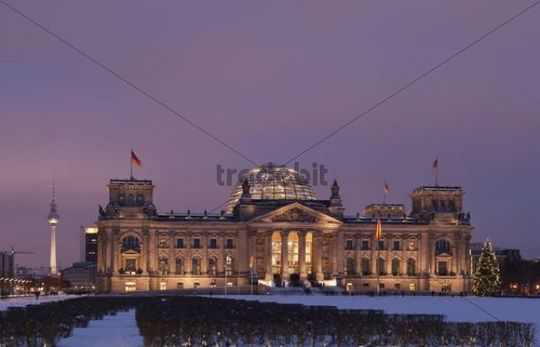 Reichstag parliament and tv tower, dusk, winter, Berlin, Germany, Europe