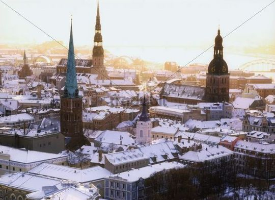 Cityscape, bird´s-eye view, Riga, Latvia, Northern Europe