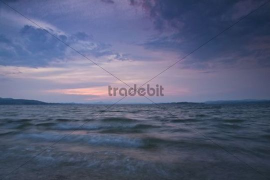 Stormy weather on Reichenau island with high waves, looking towards Radolfzell and Hoeri, Untersee lake, Lake Constance, Baden-Wuerttemberg, Germany, Europe